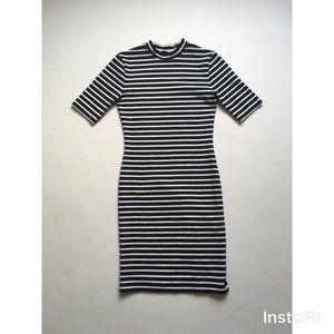 T by Alexander Wang Stripe Mockneck Dress